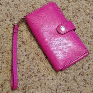 Coach Pink Leather Wristlet/Wallet